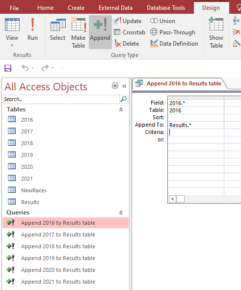 Update Results Table Query